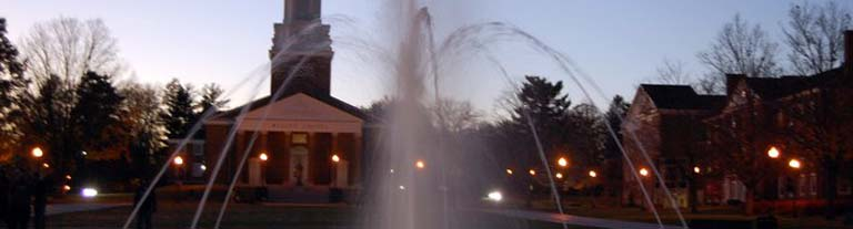 Sunset picture of campus and fountain